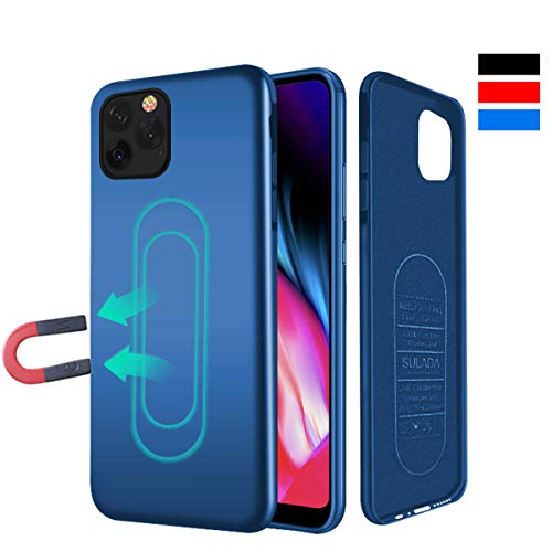 Haobuy Custodia per iPhone 11/XI PRO Max,Cover Magnetica per Supporto Magnetico Auto con Piastra Metallica Incorporata,Custodia Protettiva Anti-graffio TPU Antiurto per iPhone 11/XI PRO Max 6.5 - Blu