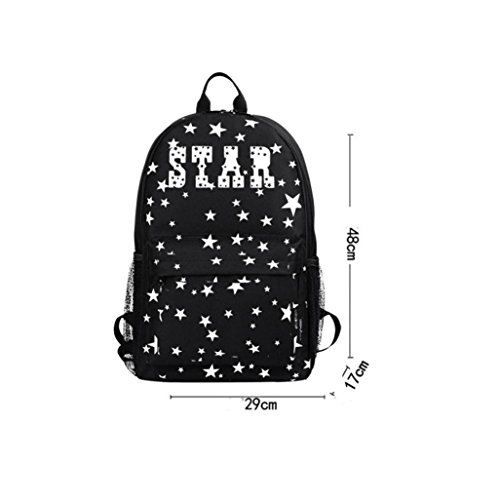 Shobdw Unisex Light Preppy Adolescente Noctilucent Cartoon School Bags Zaino Studentesco Black-2