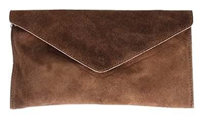 Girly HandBags Genuine Italian Suede Leather Envelope Clutch Bag Envelope Wristlet (Dark Brown)