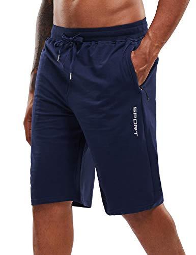 YAWHO Herren Sporthose Kurz Hose Laufshorts Trainingsshorts Schnelltrocknend mit Reißverschlusstasche/Jogging Hose für Workout,Laufsport,Fitness (Blue, XL)