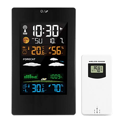 King Boutiques Weather Clock Wetterstation Wireless Thermometer Hygrometer Barometer Wettervorhersage Digitaler Alarm Wanduhr Zeitkalender Haushaltsgegenstände