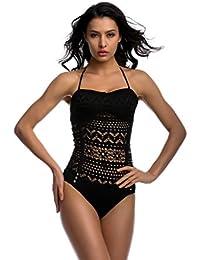 OUO Swimwear Maillots De Bain Une Pièce Halterneck Crochet Push Up Pour Femme