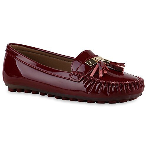 Damen Slipper Pastell Flats Schuhe Lederoptik Dunkelrot Lack Quasten