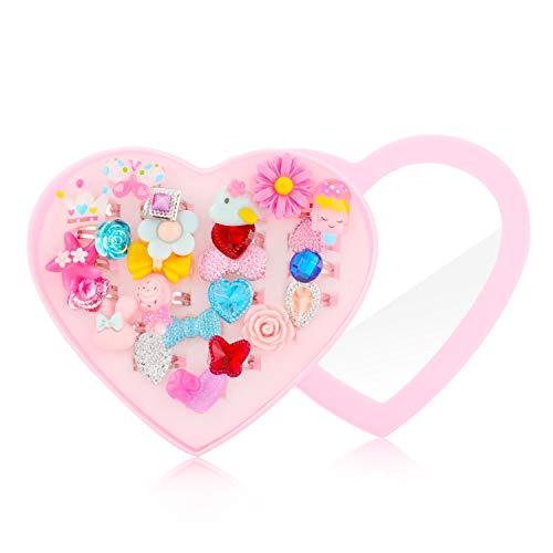 Hifot kinderringe mädchen Prinzessin Schmuck Set 24 Stück, Kristall Verstellbare Ringe für Mädchen mit Herzformkasten, Girl Dress up Rings Fingerringe -