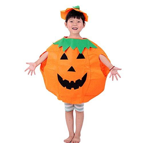 valink Unisex Kinder Jungen Mädchen Halloween Fancy Kleid Outfit Kleidung Smile Muster orange Kürbis Kleidung Cosplay Party Kleid bis Masquerade Dekoration Kostüm Jumpsuits für Kinder 3–10Jahre