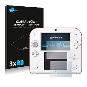 Savvies 6X Schutzfolie kompatibel mit Nintendo 2DS Displayschutz-Folie Ultra-transparent