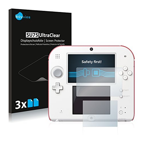 Savvies 6X Schutzfolie kompatibel mit Nintendo 2DS Displayschutz-Folie Ultra-transparent