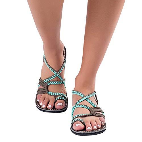 Zapatos con flip-flop Sandalias planas Mujer Zapatos planos Sandalias Damas Cuerda de nylon Chanclas Sandalias Zapatos de verano Correa tejida Moda Zapatos de playa al aire libre Zapatillas Marrón,