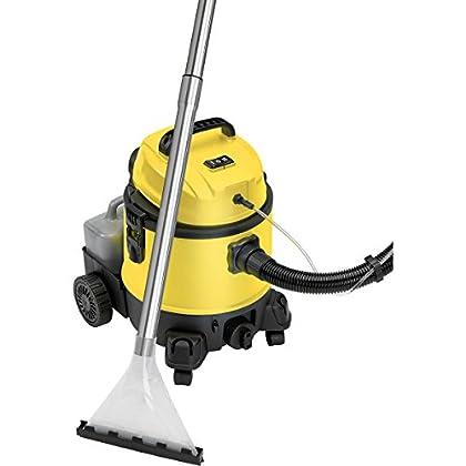 Lava-aspiradora con limpiador de tapiceria para coche, alfombras, colchones, aspiradora industrial en humedo seco, depósito de 20 litros residuos, depósito detergente 4 litros, 1200W