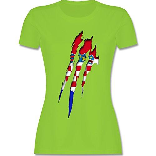 Länder - Kroatien Krallenspuren - tailliertes Premium T-Shirt mit Rundhalsausschnitt für Damen Hellgrün