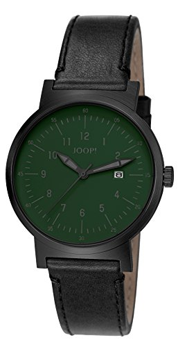 Joop Traveller Men's Quartz Watch with Green Dial Analogue Display and Black Leather Strap JP101431003