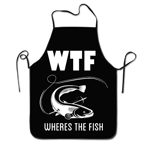 HTETRERW WTF Wheres The Fish Lock Edge Blue Apron for Baking Crafting Gardening Cooking Durable Easy Cleaning Creative Bib for Man and Woman Standar - Wtf Party Kostüm