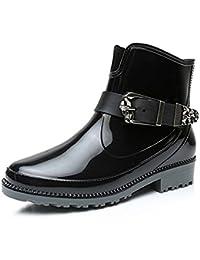 YOGLY Botas de Agua de Mujer Botas Martin Lluvia de Moda Zapatos de Goma Para Mujeres Antideslizante Impermeables Calzado