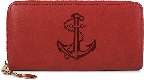 styleBREAKER Geldbörse mit großer Anker Prägung, umlaufender Reißverschluss, Portemonnaie, Damen 02040107, Farbe:Rot