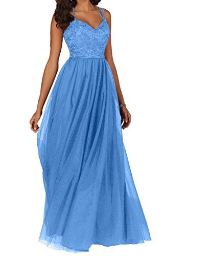 La_Marie Braut Schokobraun Attraktive Spitze Brautmutterkleider Promkleider Partykleider Abendkleider Lang A-linie Hell Blau