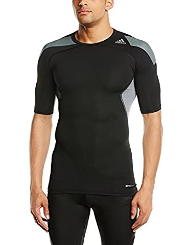 adidas S19441 Techfit Cool T-Shirt manches courtes Homme Black/Vista Grey S15 FR : XL (Taille Fabricant : XL)