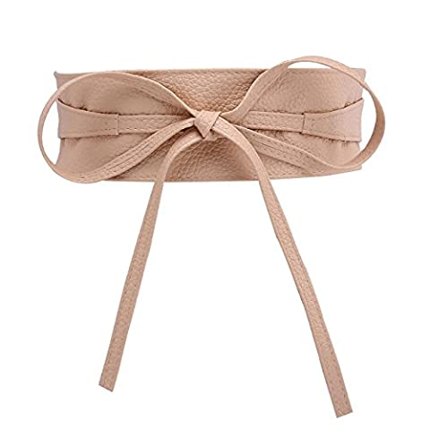 CHIC DIARY Fashion Women Faux Leather Bow Tie Waistband Elastic Stretch Waist Strap Cummerbund Waist Band Belt for Dress (Light peach)