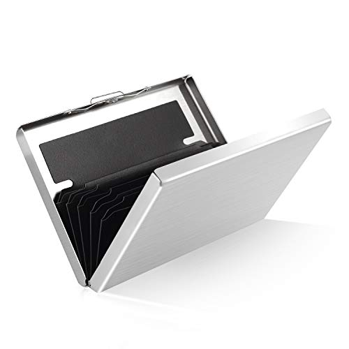 Kreditkartenetui aus Metall, RFID Schutz Kreditkartenhülle, ZOYJITU Kreditkartenetui Kartenetui aus Aluminium, 6 Fächer für bis zu 10 Karten, Slim Wallets, Frauen/Männer