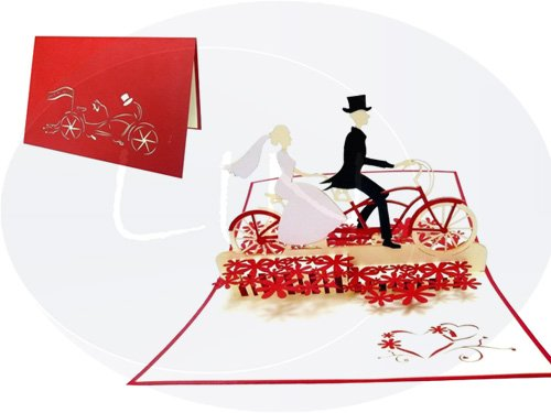LIN-POP UP Karten Hochzeitskarten, Hochzeitseinladungen Valentinskarten 3D Karten Grußkarten Glückwunschkarten Liebe Hochzeit, Brautpaar mit Fahrrad