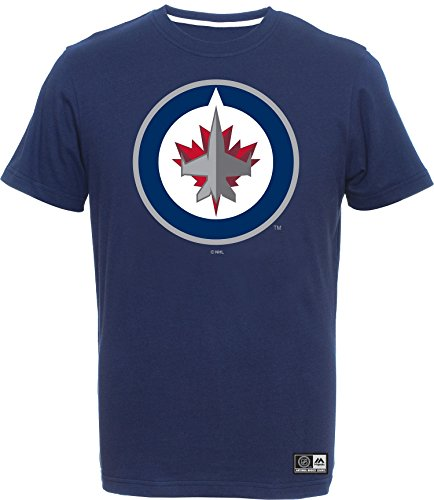 Majestic Athletic NHL Eishockey Logo T-Shirt Winnipeg Jets Navy (X-Large) Winnipeg Jets-logos