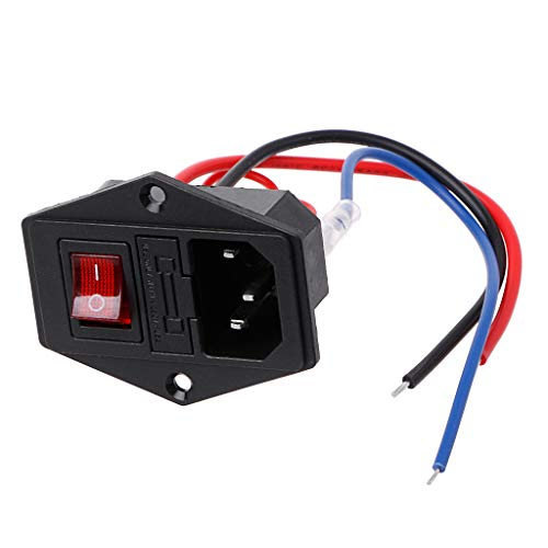 JENOR 3D-Drucker U-Typ Stecker Netzteil Schalter Adapter Steckdose mit Schalter und Sicherung -