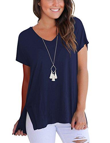 DJT Damen Kurzarmshirt Lose V-Ausschnitt Sommer T-Shirt Bluse mit Seitenschlitze Navy M