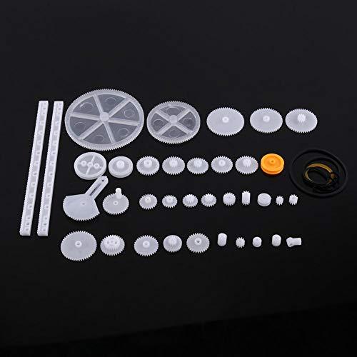 Kunststoff Getriebe,Riemenscheibe Wurm Kits tragbar langlebig Zahnrad Set aus hochwertigem Kunststoff,Plastic Gears Toy für Autos, Robotern sechs verschiedene Sets(34 Zahnradsätze)