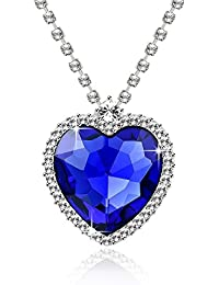 Blue Ocean Heart Austrian Crystal Jewellery Pendant Necklace Gift For Girls And Women By Shining Diva