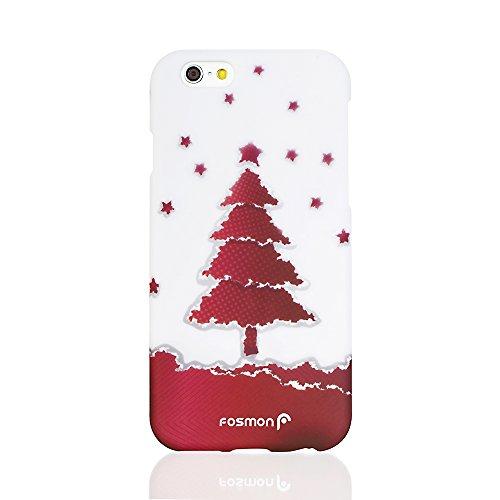 "Fosmon MATT-DESIGN Rubberized hülle Case Cover für Apple iPhone 6 (4.7"") - Gold Ornaments (2 pcs cover) Rot Christmas Tree"