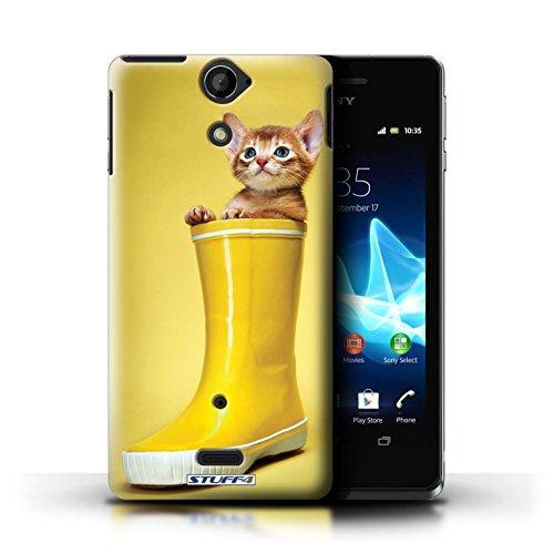 Kobalt® Imprimé Etui / Coque pour Sony Xperia V/LT25i / Verre de vin conception / Série Chatons mignons Botte en caoutchouc
