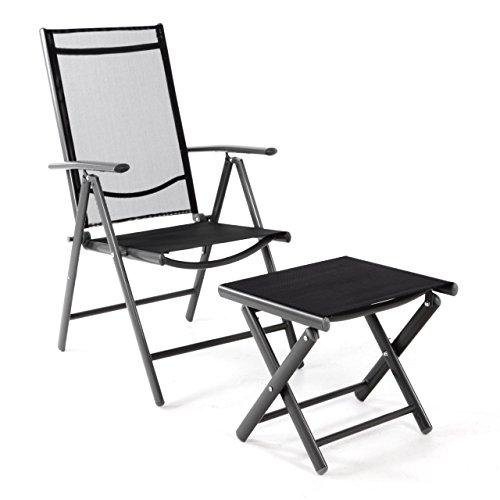 Klappstuhl Set mit Hocker Fußstütze Gartenstuhl Aluminium verstellbar, Rahmen anthrazit, Bezug schwarz, für Terrasse und Balkon, leicht, stabil, schwarz, witterungsbeständig, 56x65x105 cm, mit Armlehne, klappbar