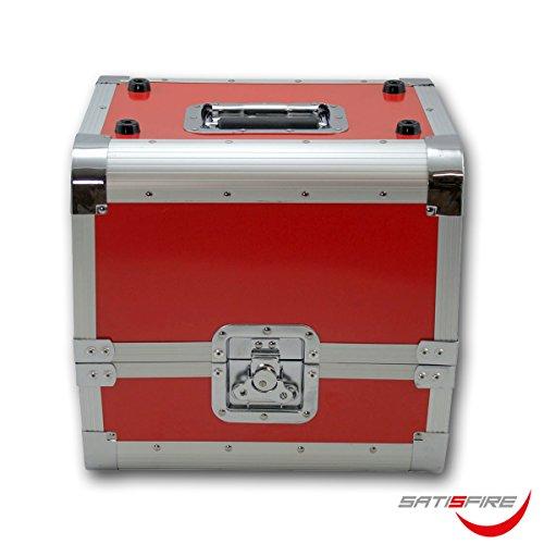 SATISFIRE Plattenkoffer LP80 Aluminium-Koffer Vinyl-Case Schallplattenkoffer für 80 LP Klappdeckel Aluminium-Profil Schutzkanten Metallscharniere Butterfly abschließbar Tragegriff …