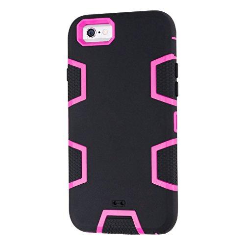 iPhone 6 6s Hülle, Imikoko® iPhone 6 6s Case 3 in 1 Stoßfest Hybrid High Impact Hart PC und Weiche Silikon Schutzhülle Tasche Case Cover für Apple iPhone 6/6s (Fuchsia) Schwarz