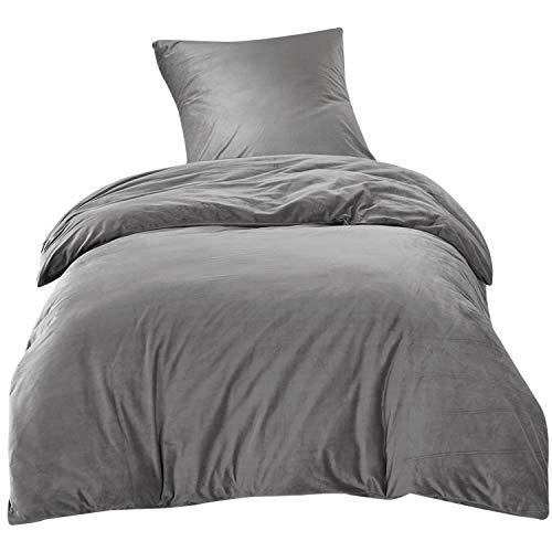 Bettwäsche 135x200cm Grau Einfarbig Flauschig Warm mit Cashmere Touch 2-teilig Bettbezug & Kissenbezug 80x80cm Luxus Solid Velvet Crystal Ideal für Winter