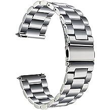 TRUMiRR Banda de reloj de acero inoxidable de 18 mm Correa de liberación rápida para reloj Huawei, Asus ZenWatch 2 WI502Q, Withings Activite / Steel / Pop/Sapphire, Withings Steel HR 36mm, Fossil Q Tailor, LG Watch Style