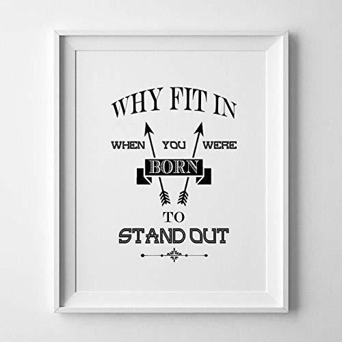 Why Fit in When You Were Born to Stand Out/Druck/Bild/Poster/schwarz und weiß Poster/DR SEUSS Kinder 's Buch Angebot/DR SEUSS Art Wand/Geschlecht neutral Kinderzimmer Decor/Kid 's Room Decor, A3