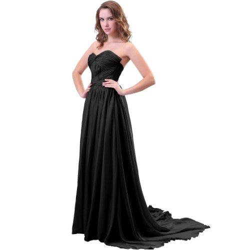 Lemandy Robe de soirée avec traine mousseline Multicolore - Noir