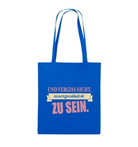 Comedy Bags - Und vergiss nicht, aussergewöhnlich zu sein. - Jutebeutel - lange Henkel - 38x42cm - Farbe: Schwarz / Weiss-Neongrün Royalblau / Rosa-Beige