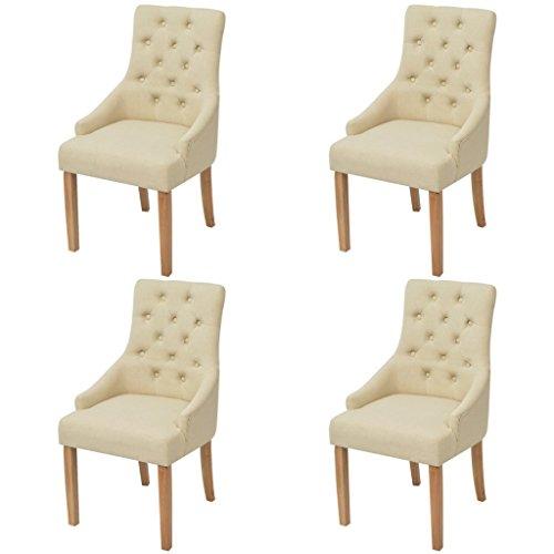 Festnight 4er-Set Esszimmerstuhl Essstuhl Eichenholzbeine Küchenstühle Esszimmerstühle Stuhlset Sitzgruppe Stoffpolster 52x60x95,5cm Cremewei?