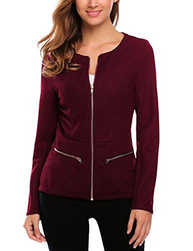 Finejo Damen Blazer mit Reißverschluss Kurzjacke Tailliert Jäckchen Business Jacket Mantel Tops Herbst Winter Weinrot S (Jersey Top Blouson)