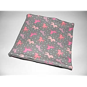 Grau rosa lila Einhorn Pferde Loop Winterloop Kinderloop Halssocke - Wunschgröße - Fleece oder BW-Jersey