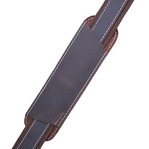 BAIGIO Herren Leder und Nylon Schultergurt Reisetasche Umhängetasche Abnehmbare Tragegurt Schulterriemen für Umhängetasche Schultertasche Reisetasche Tasche, Dunkelbraun Dunkelbraun