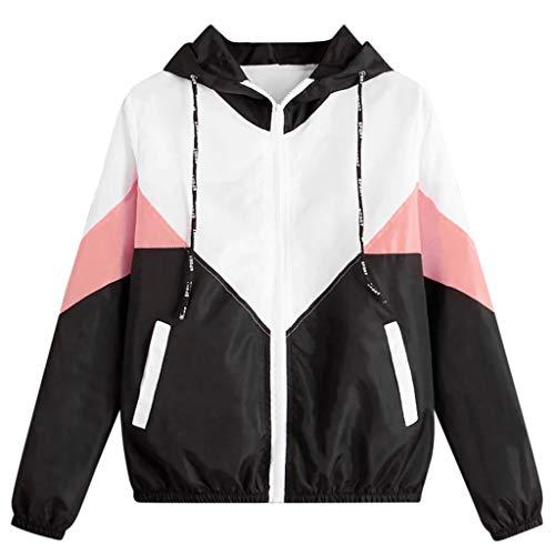 MRULIC Damen Lange Sweatjacke Kapuzenjacke Sweatshirtjacke Herbst Frühling Heißer Frauen Mädchen lang Esprit Mantel Long Sleeve Hooded Zipper Pockets Sport Coat(3-Rosa,S)