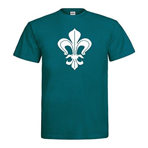 MDMA T-Shirt Lilie N14-mdma-t00683-215 Textil divablue / Motiv weiss Gr. XXL