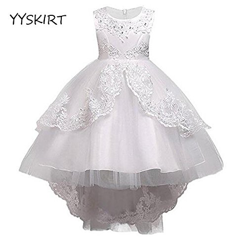 YYSKIRT Flower Girl Dress Fancy Lace Blumenmädchen Kleid 2-15 Jahre alt Prinzessin Kleid Ballkleid, White, 150cm