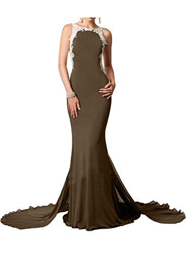 Gorgeous Bride Elegant Lang Rundkragen Meerjungfrau Chiffon Spitze Tüll Schleppe Abendkleider Lang Cocktailkleider Ballkleider Schokolade