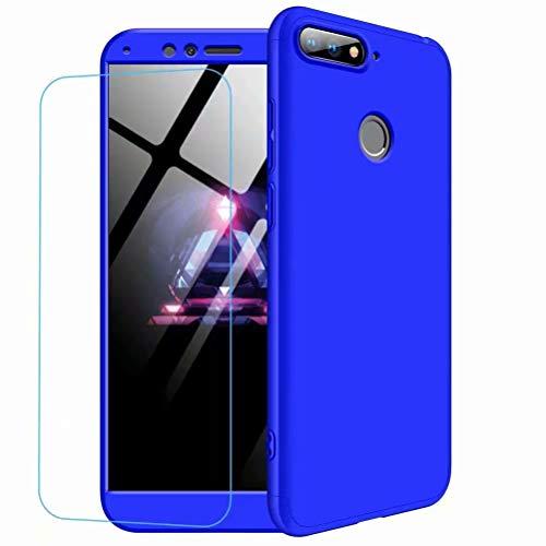Huawei Honor 9 lite Hülle Case + Panzerglas, MISSDU Handyhülle Schutzhülle Hülle Case Cover felxible Handyhülle Hülle mit Anti-Rutsch Kratzfest Hülle + Panzerglas (Blau)