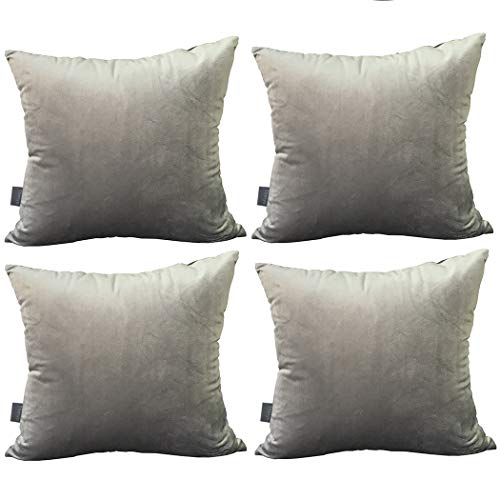 Thmyo 4Stück Deko-Kissenbezug, quadratisch, weiche Samt-Kissen für Sofa Couch (45,7x 45,7cm 45x 45cm, nur für Schlafzimmer, mit) grau