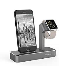 iVAPO 2 en 1 Station pour Apple Watch, iPhone 7 Plus, iPhone 7, iPhone 6 Plus, iPhone 6s Plus, iPhone 6, iPhone 6s, iPhone SE, iPhone 5, iPhone5s [Gris, Sans Chargeur et Câble ]