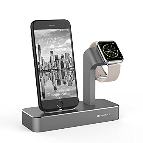 iVAPO 2 in 1 Station for Apple Watch and iPhone Stand for Apple Watch Series 1 / Apple Watch Series 2 / Apple Watch Nike+ Dock for iPhone 6s Plus /iPhone 6 /iPhone 6s / iPhone 5s /iPhone 5 /iPhone SE (Grey)